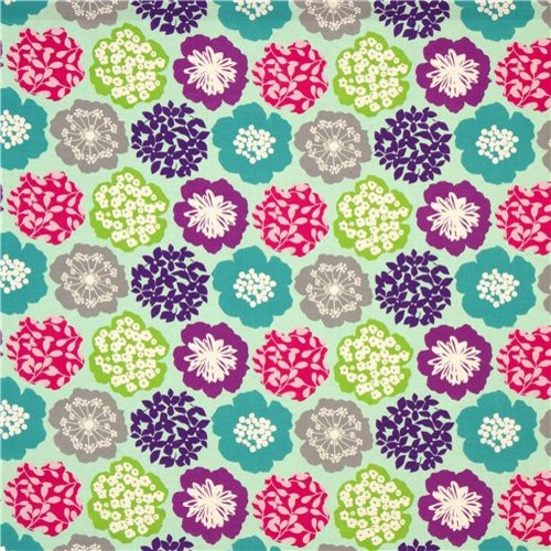 Turquoise Echino Canvas Fabric Colourful Flowers Japan