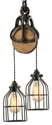 Curie Barn Pulley Pendant Light Wood And Steel