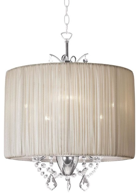Romantic Mini Crystal Chandelier With Pleated Drum Shade
