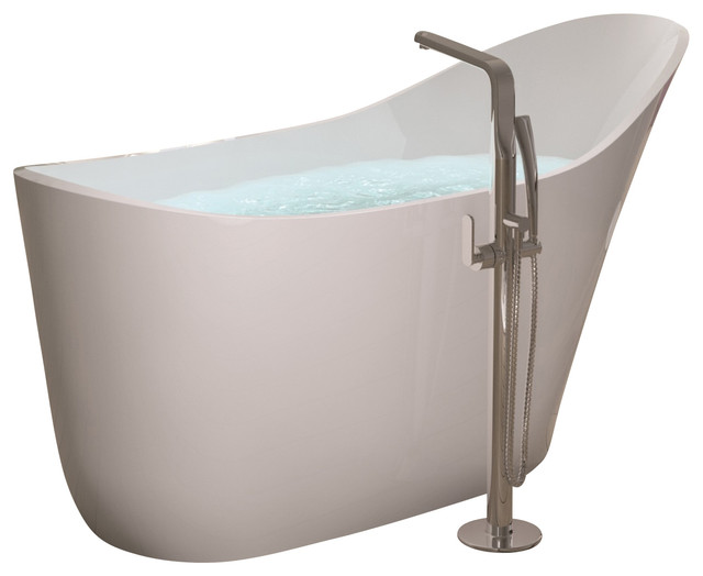 Adm white stand alone stone resin bathtub matte for Modern stand alone bathtubs