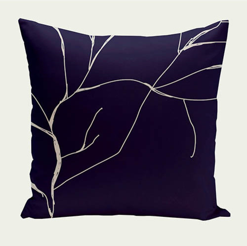 Eclectic Mix Of Pillows : Branches Spring Navy and White 18-Inch Cotton Decorative Pillow - Eclectic - Bed Pillows - by ...