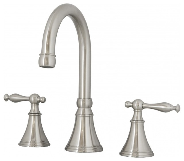Brushed Nickel Three Hole Bathroom Faucet Contemporary Bathroom Sink Faucets