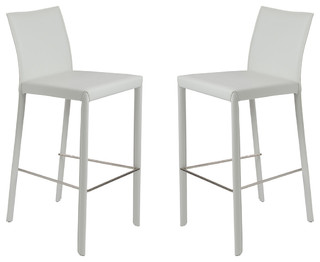 Chamber Bar Stool Set Of 2 White Contemporary Bar