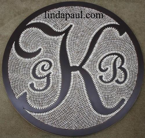Custom Mosaic Floor Medallion - monogram metal letters and stone tile