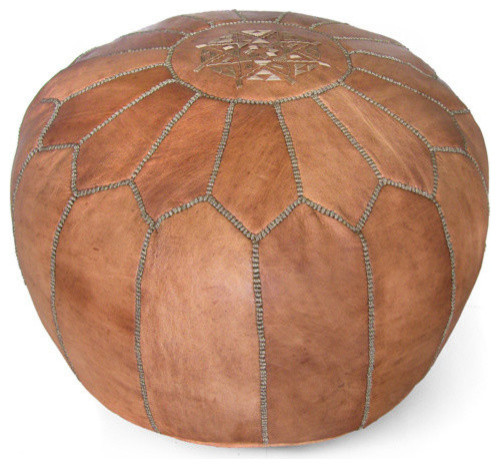 Moroccan Leather Stuffed Pouf Traditional Floor
