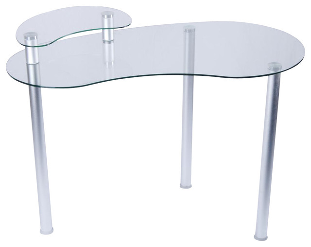 clear glass corner computer desk with monitor stand