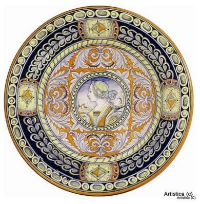 Deruta: Large Wall Plate Noblewoman (20D.) - Mediterranean - Home ...