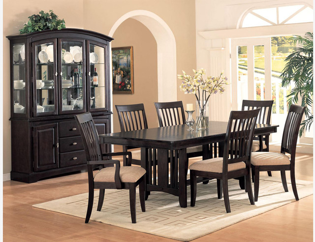 F 7 PC Mission Cappuccino Wood Dining Room Set Table Fabric Seat Chairs Con