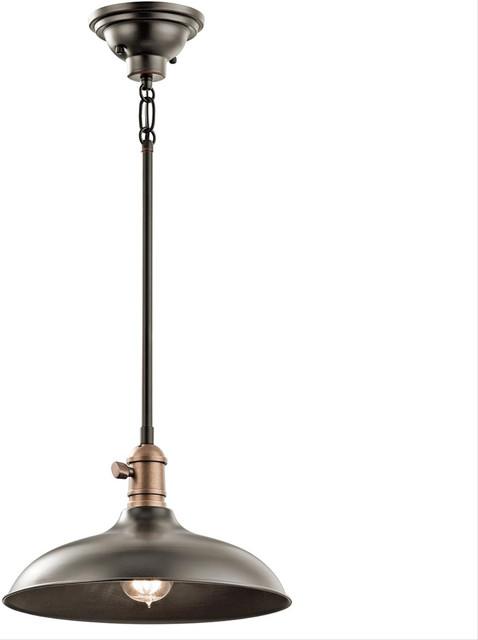 Kichler lighting 42580oz semi flush industrial flush mount for Industrial flush mount lighting
