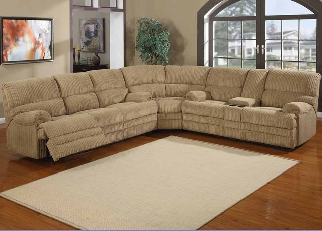 Denton chenille reclining sectional sofa traditional for Sectional sofa with reclining ends