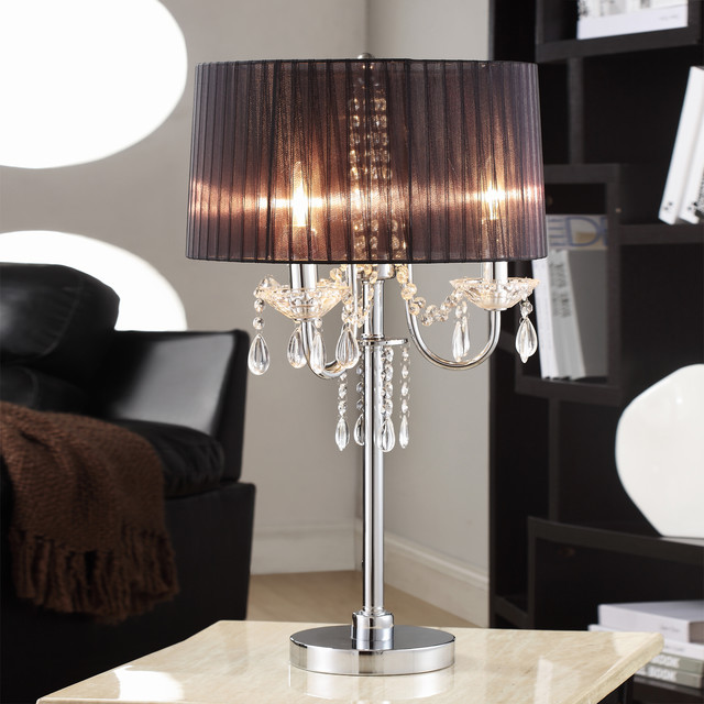 Tribecca Home Noble 3 Light Chrome Crystal Silk Shade Table Lamp Contemporary Table Lamps