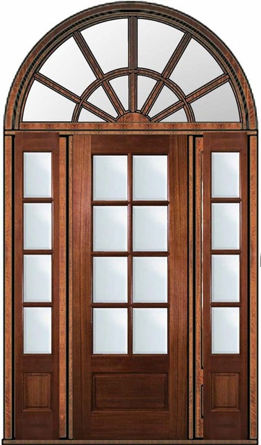 Pre hung french side lights transom door 96 mahogany 3 4 for Exterior french doors with side windows