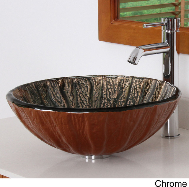 Copper Vessel Sink And Faucet Combo : Copper Design Tempered Glass Bathroom Vessel Sink with Faucet Combo ...