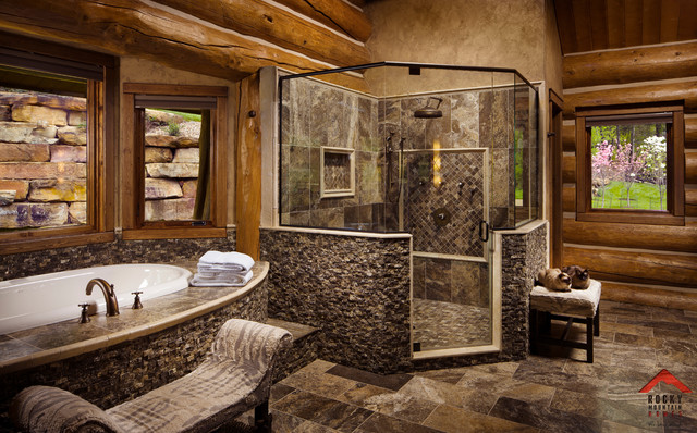 Lodge style living rocky mountain homes rustic bathroom