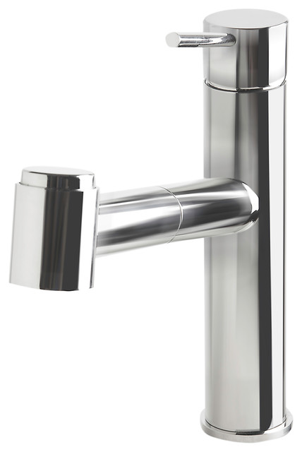 Polished Stainless Steel Kitchen Faucet, With Pull-Out Spray - Modern ...