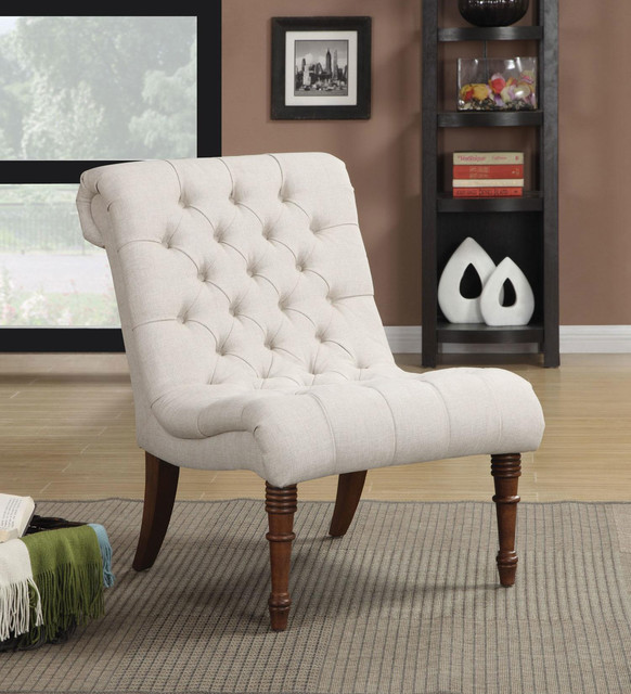 Accent Chair With Rolled Back In White Fabric