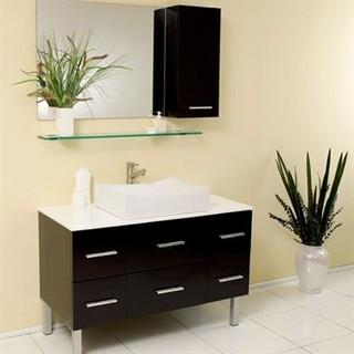 Fresca Distante Espresso Modern Bathroom Vanity With Mirror Side Cabinet Modern Bathroom