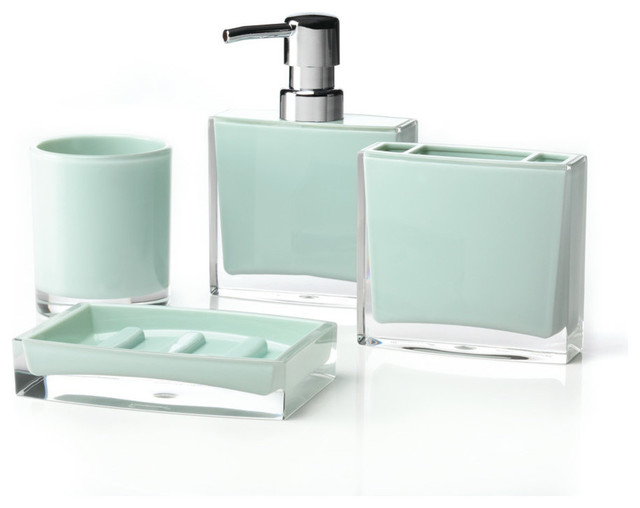 Iced 4 piece bathroom accessory set jade bathroom for Cream bathroom accessories set