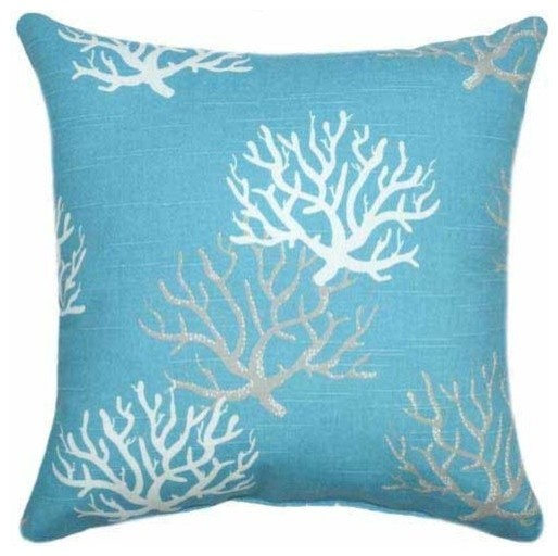 Blue Coral Throw Pillow : Isadella, Coastal Blue Coral Throw Pillow - Beach Style - Decorative Pillows