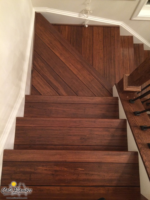 Antique Java Fossilized Bamboo Flooring On Stairs San