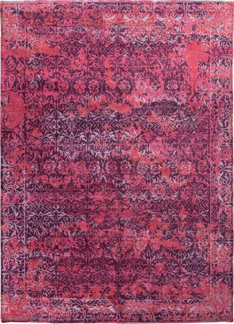 Hand Knotted Abstract Pattern Wool Bamboo Silk Purple