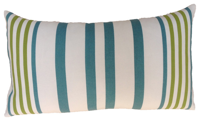 Turquoise Stripe Outdoor Cushion - Beach Style - Outdoor Cushions And Pillows - other metro - by ...