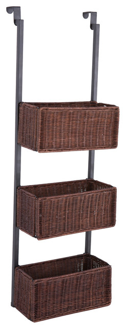 Cuba Over-The-Door Wicker Rattan Baskets, Espresso tropical-display ...