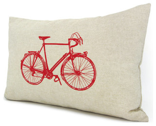 Bicycle Decorative Pillow Cover, Red by Classic by Nature - Modern - Decorative Pillows - by Etsy