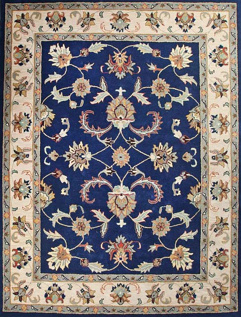 Handtufted oriental persian area rug pure wool bright blue for Bright blue area rug