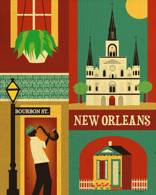 New Orleans Louisiana Skyline Eclectic Artwork