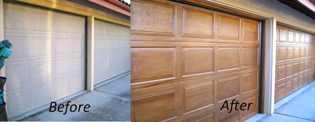 Garage doors facelift with a wood grain faux finish for Faux painted garage doors