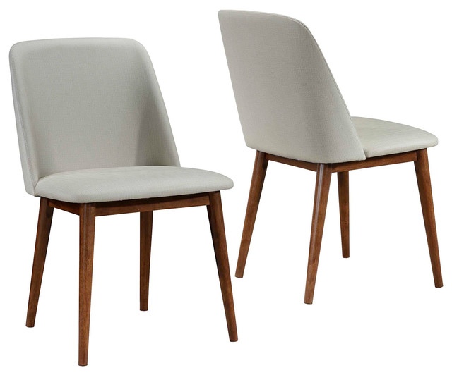Set of 2 mid century modern tan upholstered dining chairs for Upholstered dining chairs contemporary
