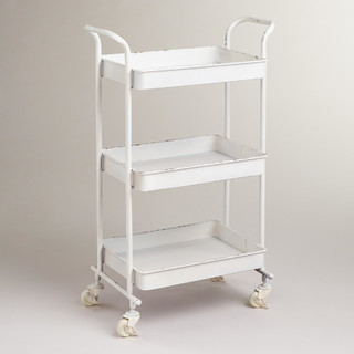 White Austin 3 Tier Metal Cart Traditional Bar Carts