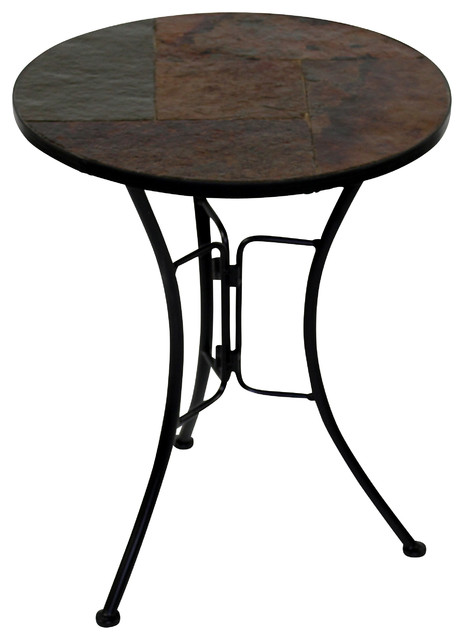 4d Concepts Slate Round Top Coffee Table In Black Metal Traditional Coffee Tables By