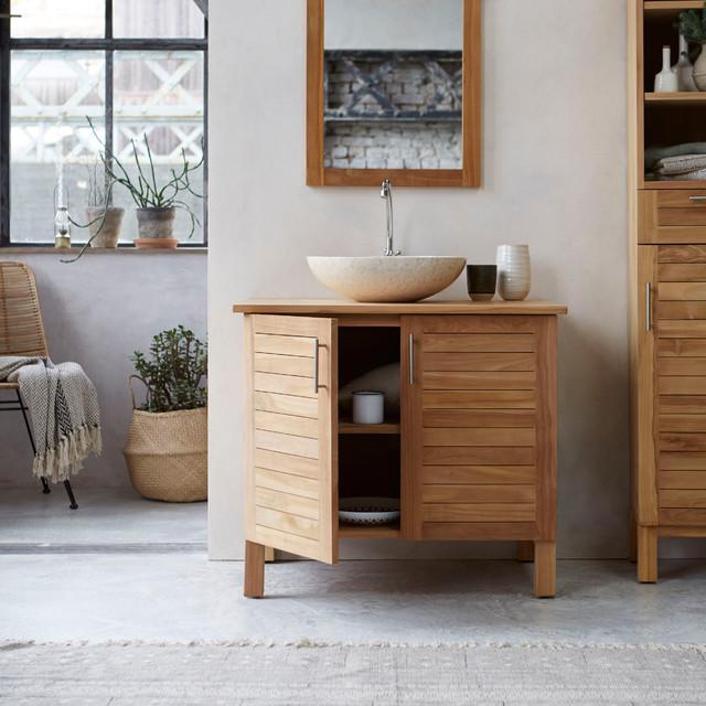 Meuble salle de bain en teck 85 soho contemporain - Meuble console contemporain ...