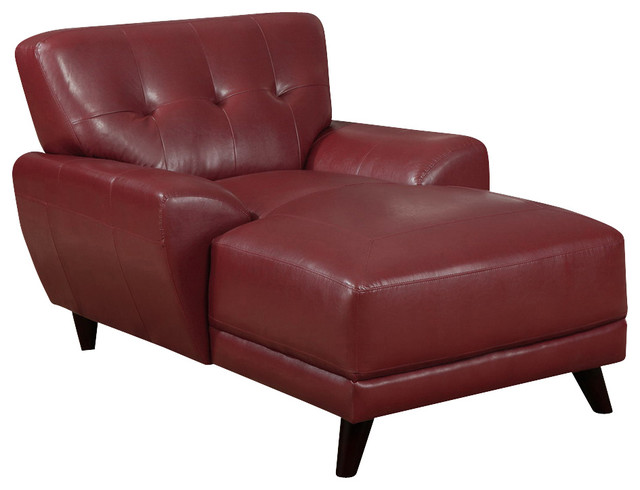 Monarch Specialties 8804RD Chaise Lounger In Red Leather Traditional Indo