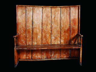 high back curved wooden bench ca 1870 eclectic indoor benches los angeles by voila. Black Bedroom Furniture Sets. Home Design Ideas