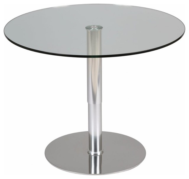 Table relevable ronde scion en verre transparent pi tement acier bross con - Table ronde verre extensible ...