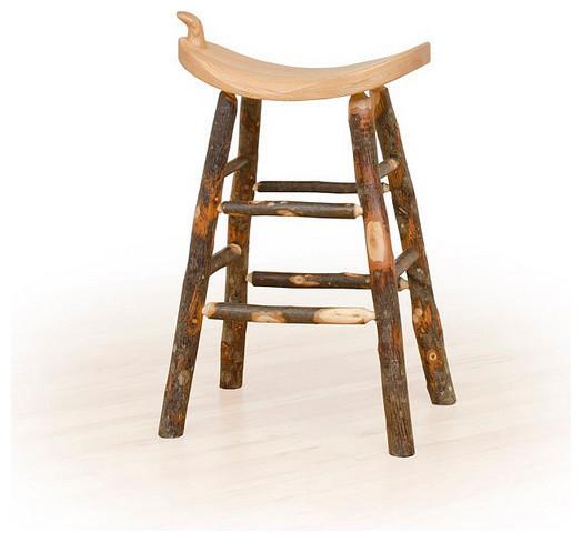 hickory log kitchen stool bar height oak seat rustic