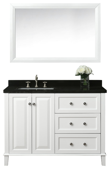 Hannah 48 Off Centered Left Basin Vanity Set With Mirror Bathroom Vanities And Sink Consoles