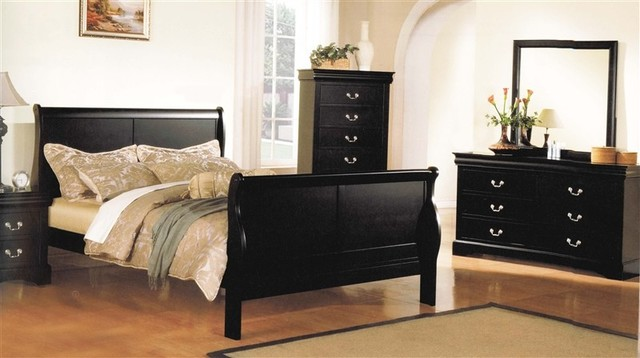 Acme Furniture Louis Philippe III 6 Piece Bedroom Set In Black Finish 195