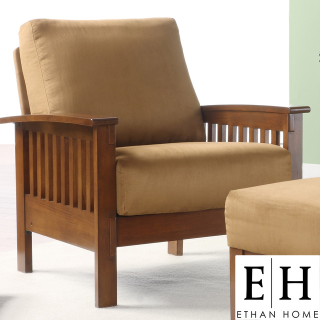 Ethan home hills mission style oak and rust microfiber accent chair contemporary living room for Microfiber accent chairs living room