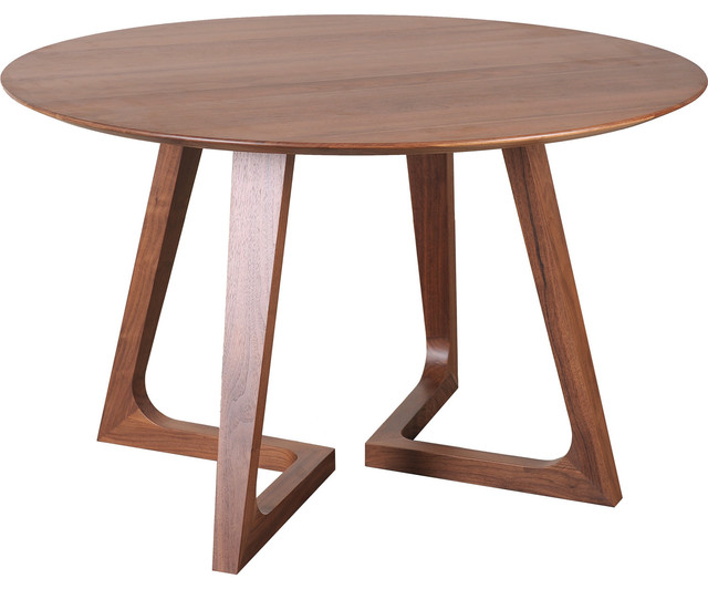 Malmo Walnut Wood Round Dining Table - Contemporary - Dining Tables ...