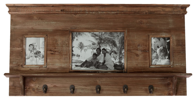 Vintage Style Wood Wall Shelf Coat Rack 3 Picture Frame Decor - Rustic - Display And Wall ...