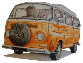 Quot Volkswagen Camper Quot Original Art Contemporary Drawings