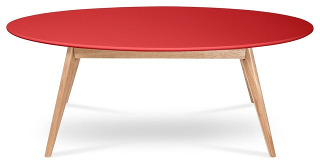 table basse design scandinave ovale skoll couleur rouge