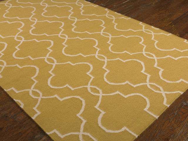 Moroccan Tile Clover Wool Rug Gold Contemporary Rugs