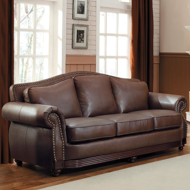 Tribecca Home Tufted Button Back Peat Microfiber Side: TRIBECCA HOME Myles Traditional Chocolate Bonded Leather