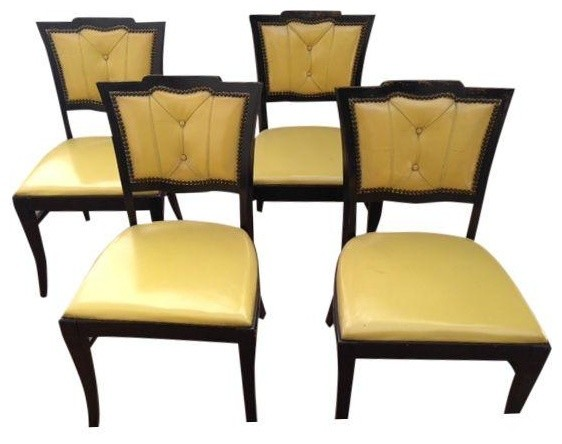 Vintage canary yellow dinning chairs set of 4 modern for Modern yellow dining chairs