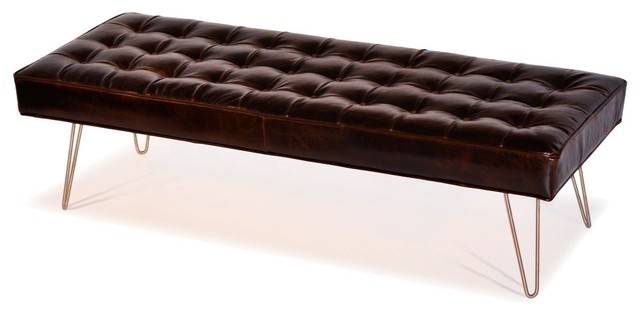 Mid century modern dark brown button tufted leather bench ottoman coffee table upholstered Dark brown leather ottoman coffee table
